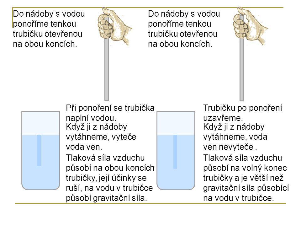 Do nádoby s vodou ponoříme tenkou trubičku otevřenou na obou koncích.