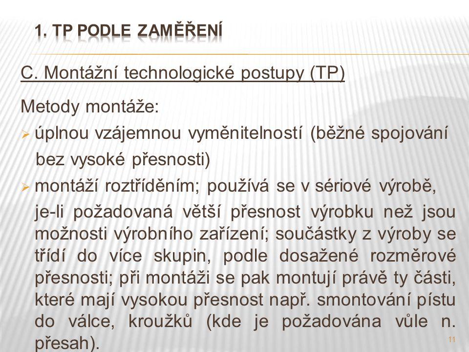 C. Montážní technologické postupy (TP) Metody montáže: