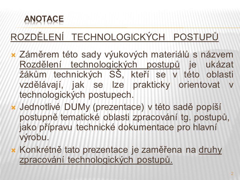 ROZDĚLENÍ TECHNOLOGICKÝCH POSTUPŮ