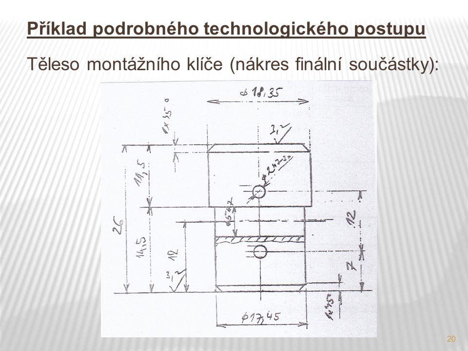 Příklad podrobného technologického postupu