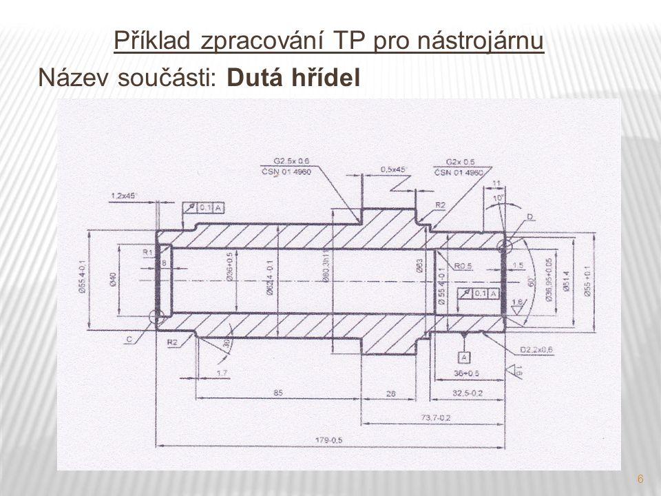 Příklad zpracování TP pro nástrojárnu