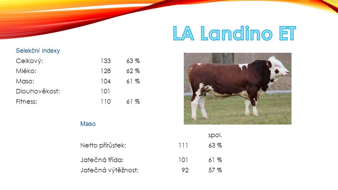 LA Landino ET Selekční indexy Celkový: 133 63 % Mléko: 128 62 % Maso:
