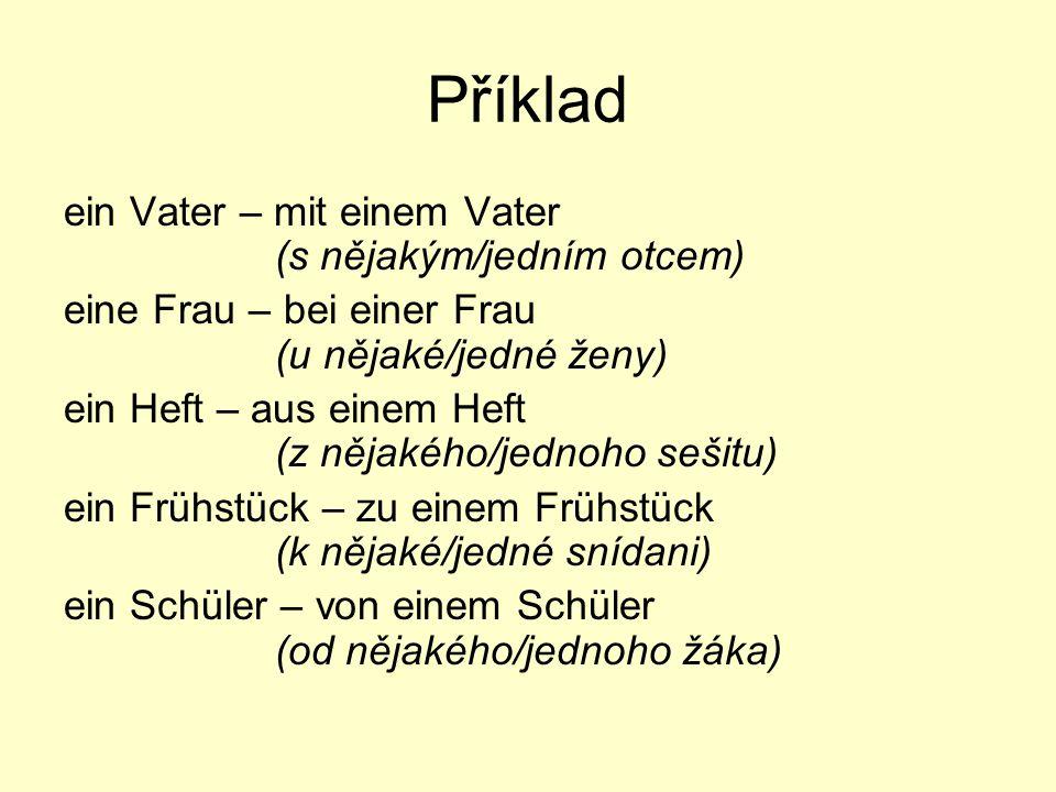 Příklad ein Vater – mit einem Vater (s nějakým/jedním otcem)