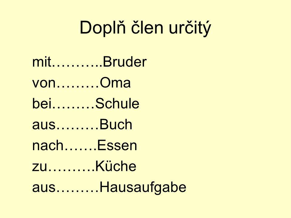 Doplň člen určitý mit………..Bruder von………Oma bei………Schule aus………Buch