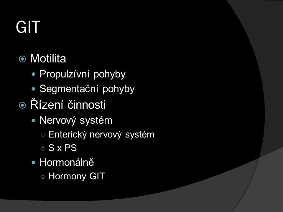GIT Motilita Řízení činnosti Propulzívní pohyby Segmentační pohyby