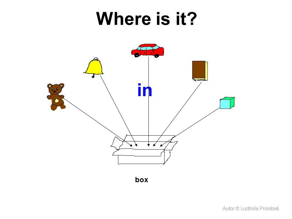 Where is it in. Děti říkají krátké věty postupně při nabíhání obrázků: The teddy bear is in the box. The brick is in the box.