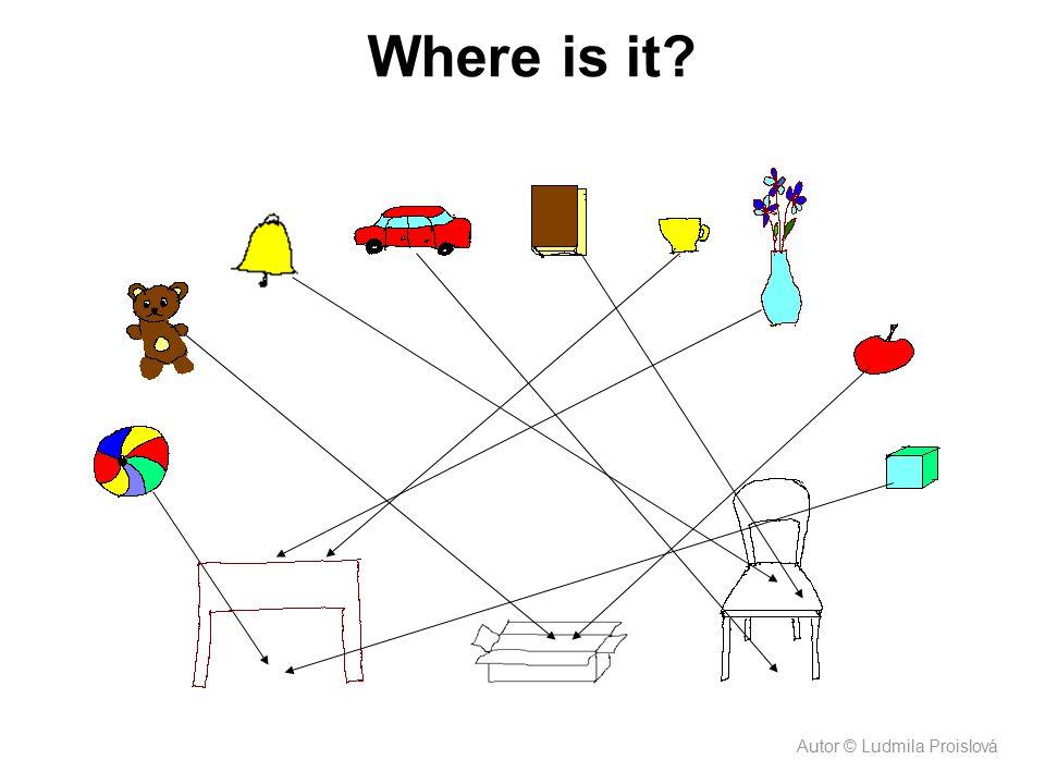Where is it. Shrnutí učiva. Děti nejdříve pojmenovávají předměty, po naběhnutí šipky tvoří větu.