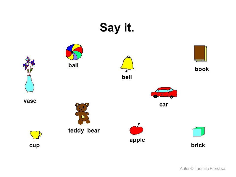 Say it. ball book bell vase car teddy bear apple cup brick