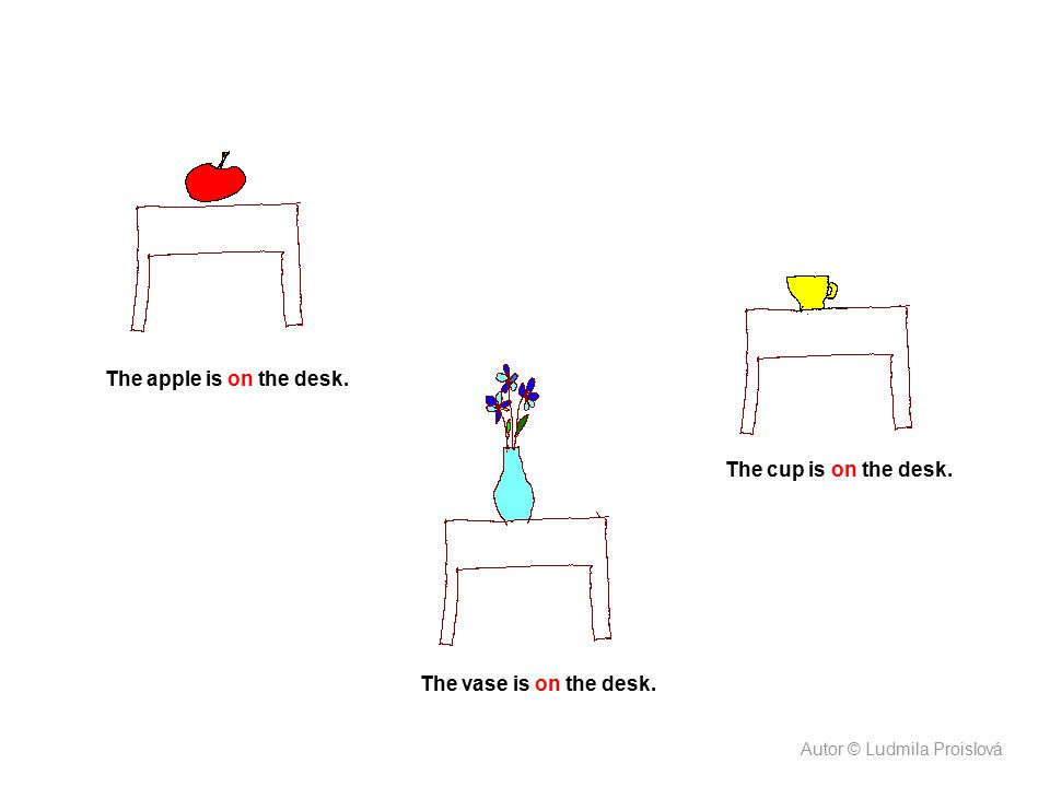 The apple is on the desk. The cup is on the desk.