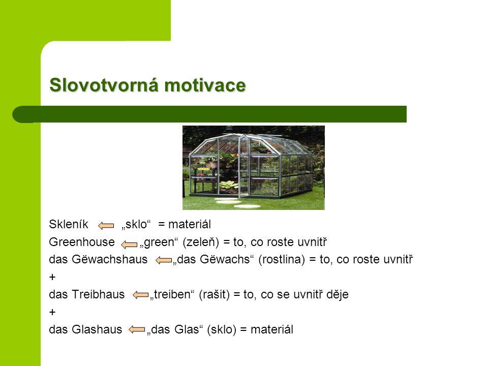 """Slovotvorná motivace Skleník """"sklo = materiál"""
