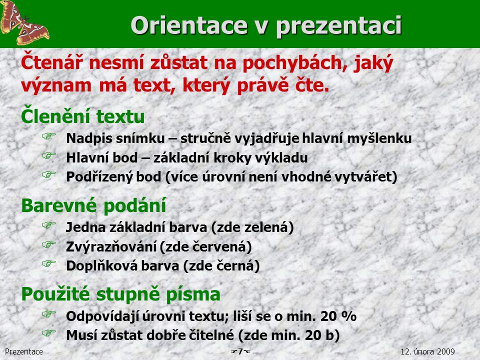 Orientace v prezentaci