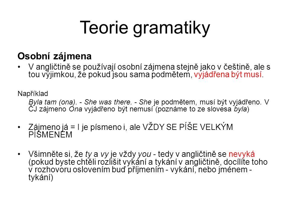 Teorie gramatiky Osobní zájmena