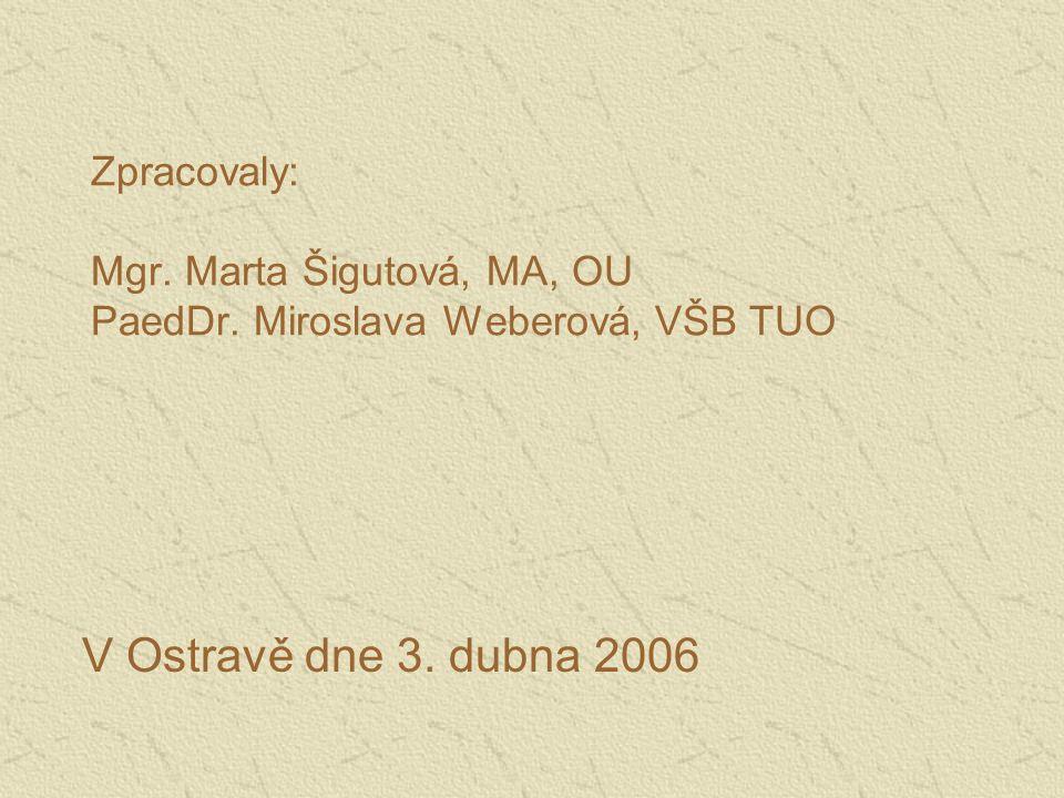 Zpracovaly: Mgr. Marta Šigutová, MA, OU PaedDr