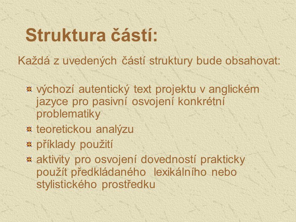 Struktura částí: Každá z uvedených částí struktury bude obsahovat:
