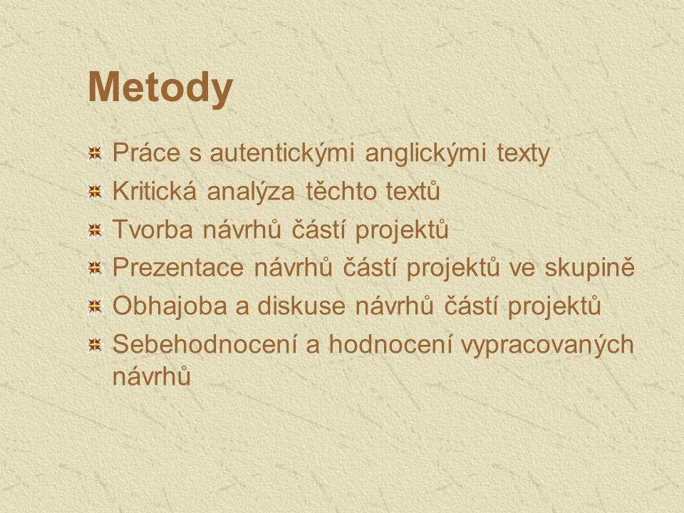 Metody Práce s autentickými anglickými texty
