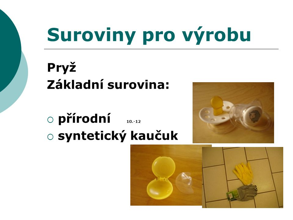 Suroviny pro výrobu Pryž Základní surovina: přírodní 10.-12