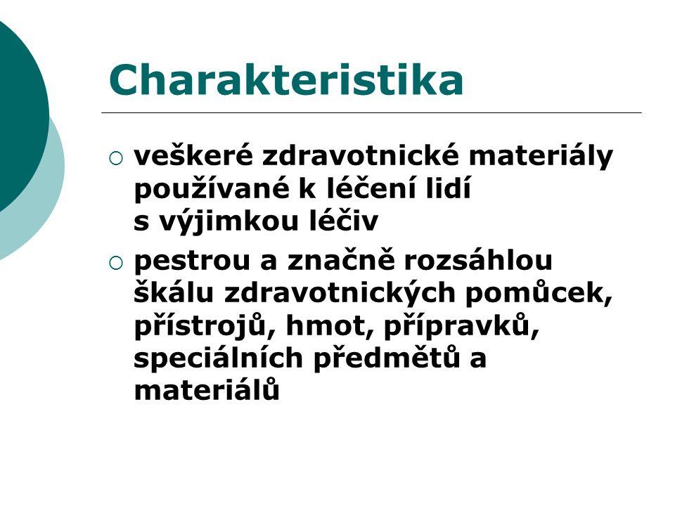 Charakteristika veškeré zdravotnické materiály používané k léčení lidí s výjimkou léčiv.