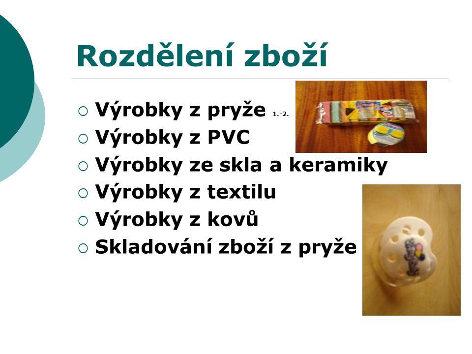 Rozdělení zboží Výrobky z pryže 1.-2. Výrobky z PVC