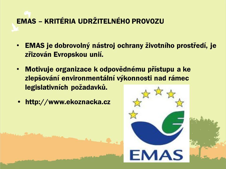 EMAS – kritéria udržitelného provozu