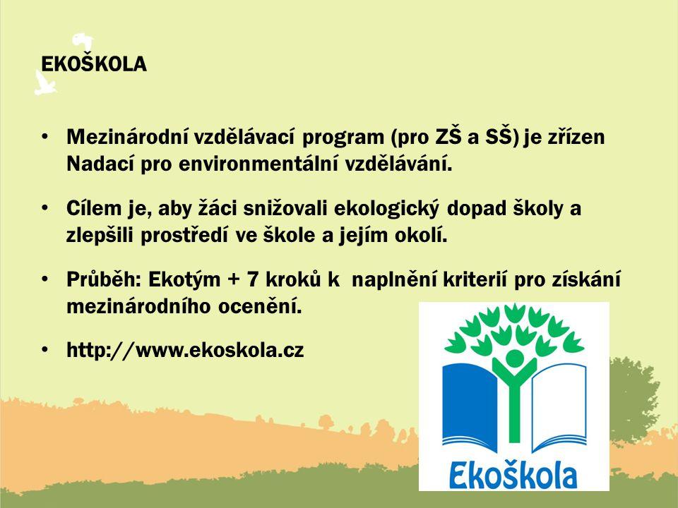 EKOŠKOLA Mezinárodní vzdělávací program (pro ZŠ a SŠ) je zřízen Nadací pro environmentální vzdělávání.