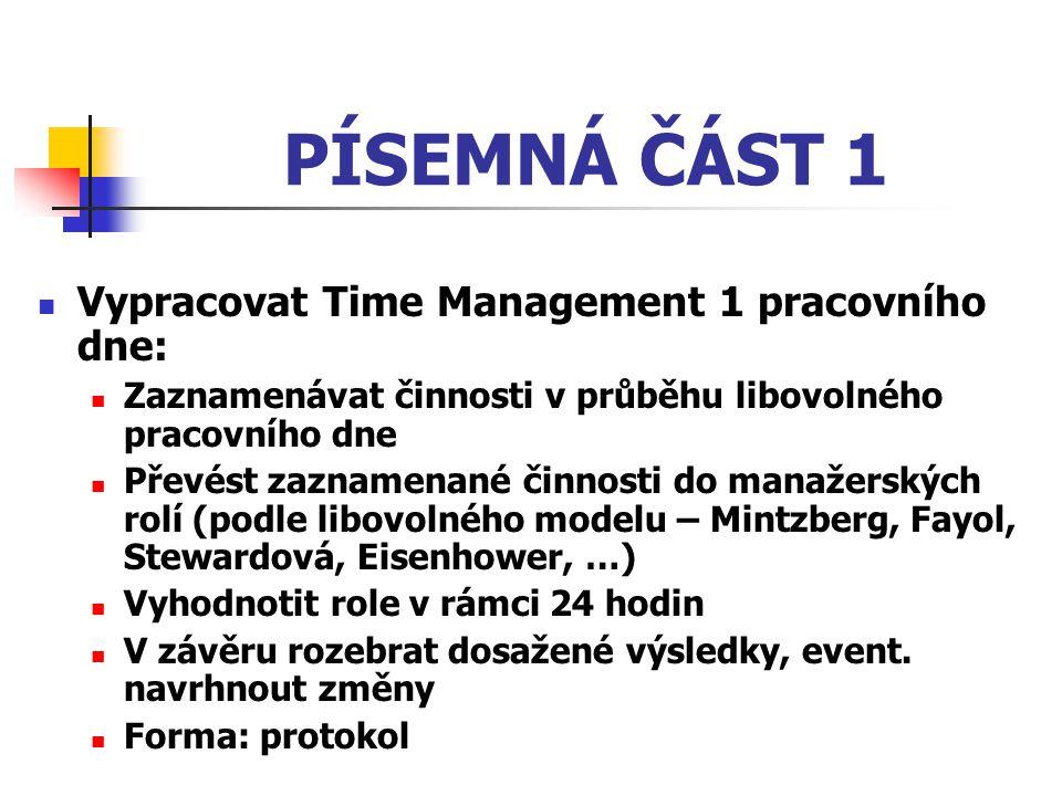 PÍSEMNÁ ČÁST 1 Vypracovat Time Management 1 pracovního dne: