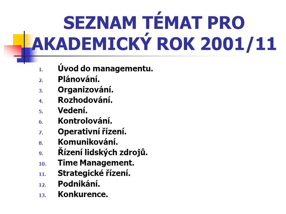 SEZNAM TÉMAT PRO AKADEMICKÝ ROK 2001/11