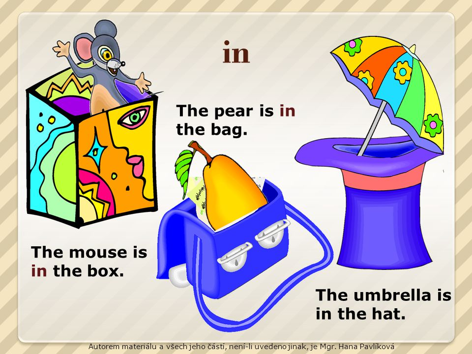 in The pear is in the bag. The mouse is in the box.