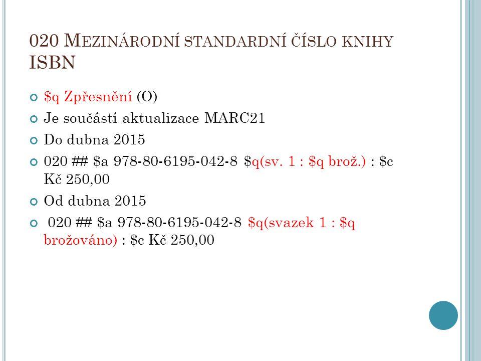 020 Mezinárodní standardní číslo knihy ISBN