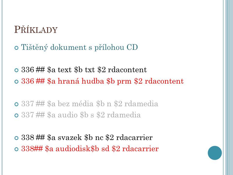 Příklady Tištěný dokument s přílohou CD