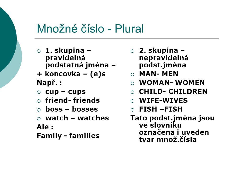 Množné číslo - Plural 1. skupina – pravidelná podstatná jména –