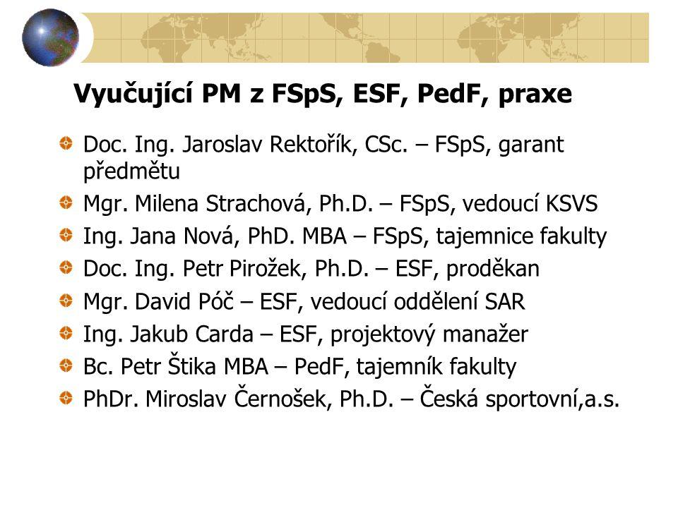 Vyučující PM z FSpS, ESF, PedF, praxe