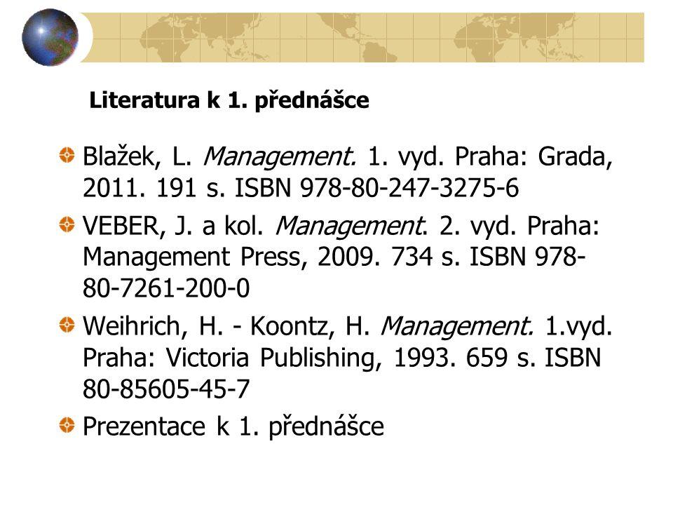 Literatura k 1. přednášce