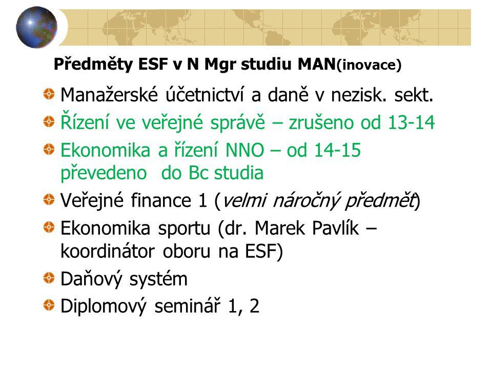 Předměty ESF v N Mgr studiu MAN(inovace)