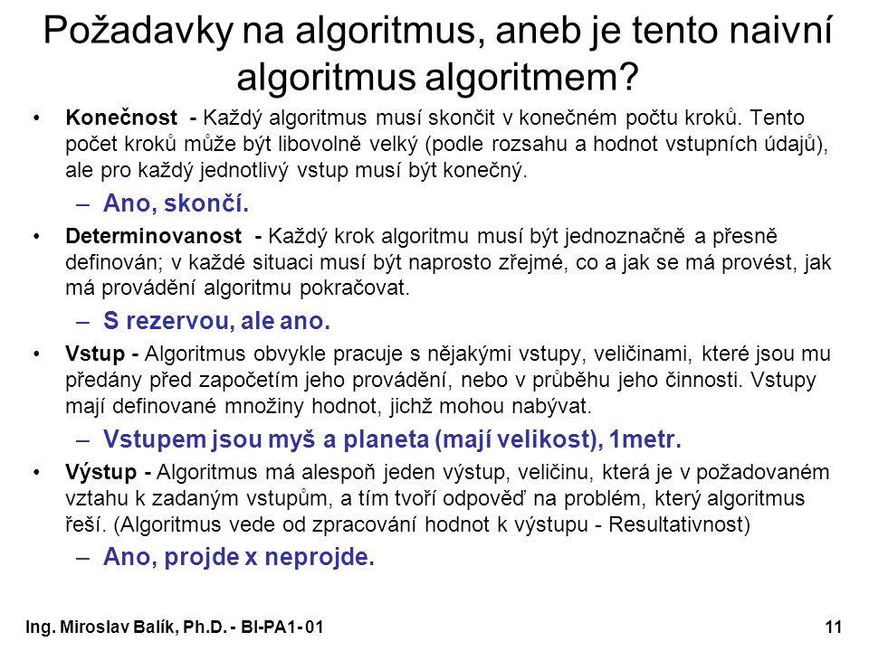 Požadavky na algoritmus, aneb je tento naivní algoritmus algoritmem