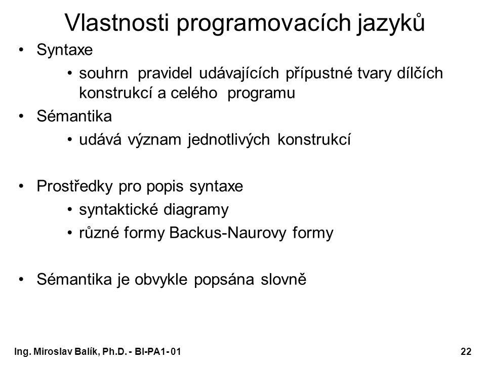 Vlastnosti programovacích jazyků