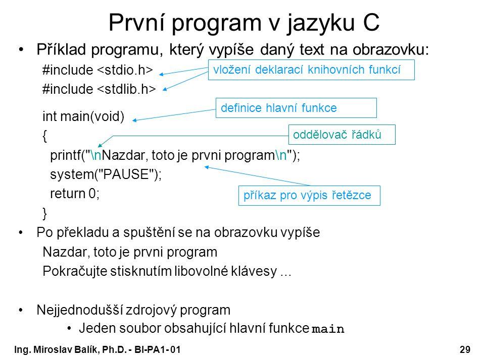 První program v jazyku C