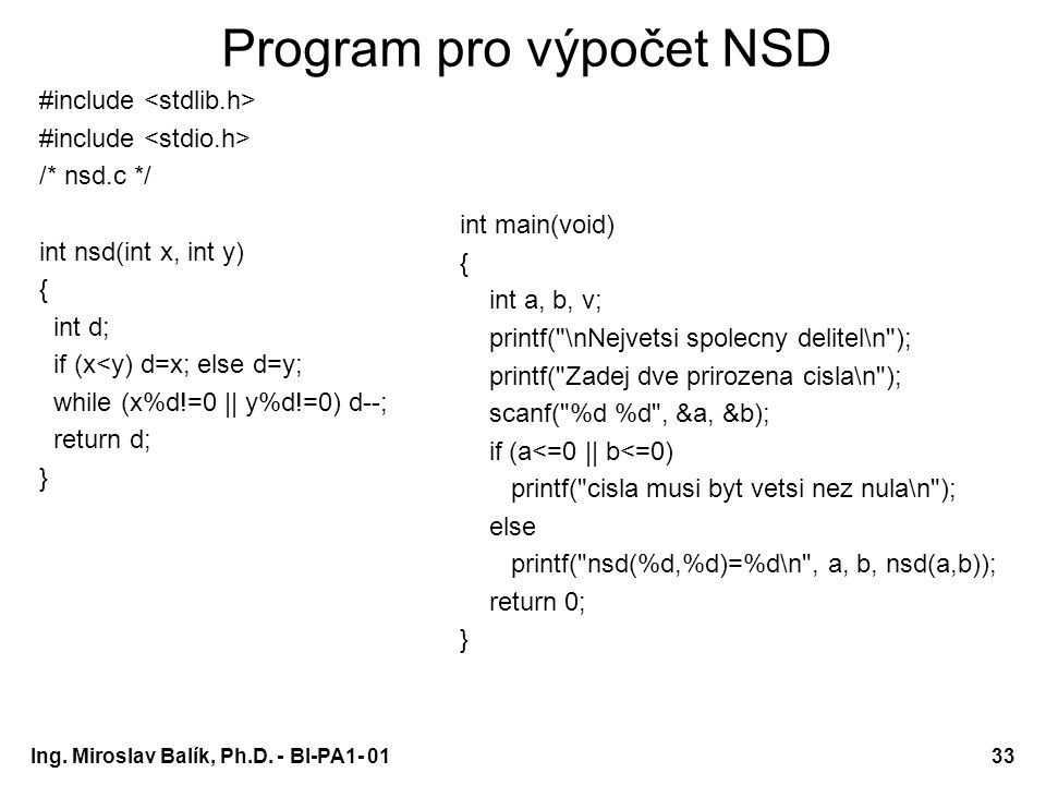 Program pro výpočet NSD
