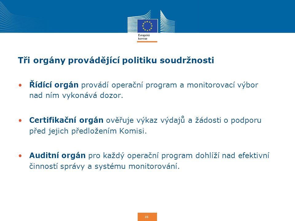 Tři orgány provádějící politiku soudržnosti