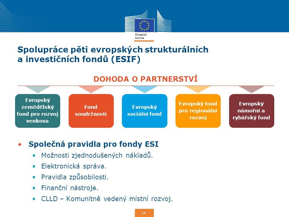 Spolupráce pěti evropských strukturálních a investičních fondů (ESIF)