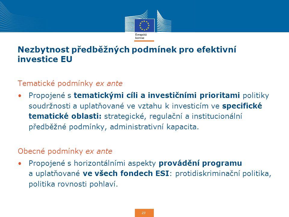 Nezbytnost předběžných podmínek pro efektivní investice EU