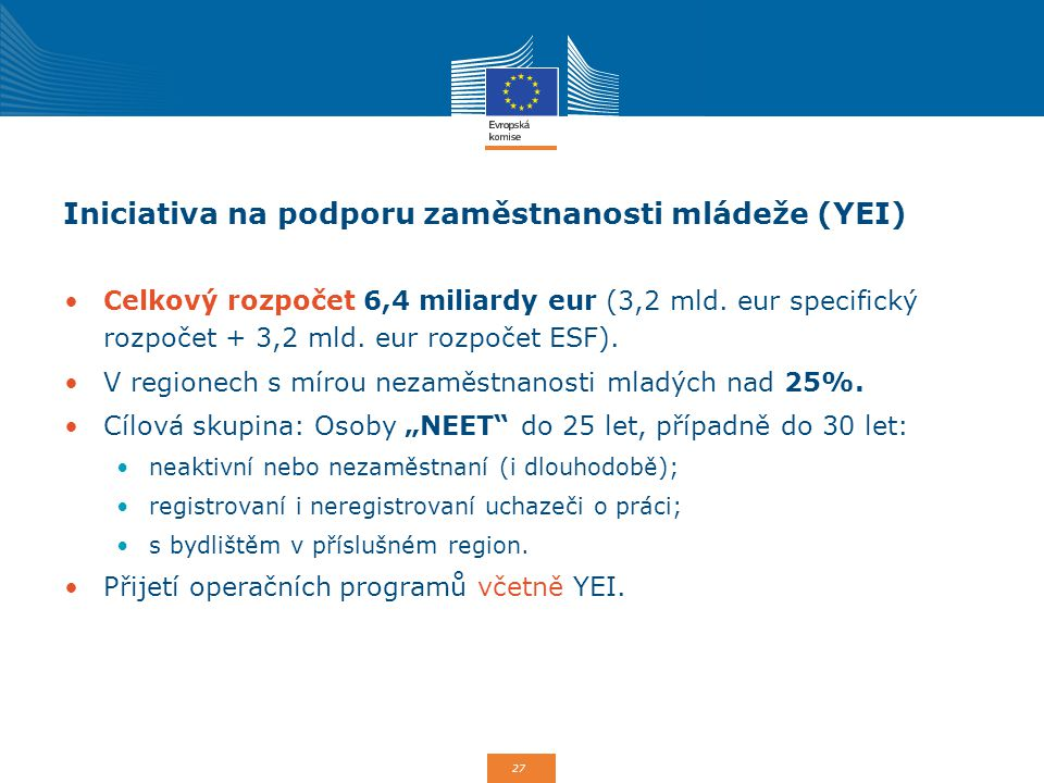 Iniciativa na podporu zaměstnanosti mládeže (YEI)