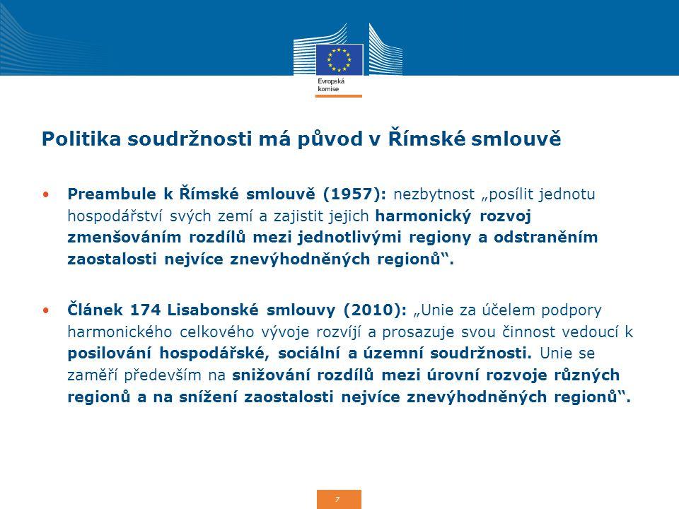 Politika soudržnosti má původ v Římské smlouvě