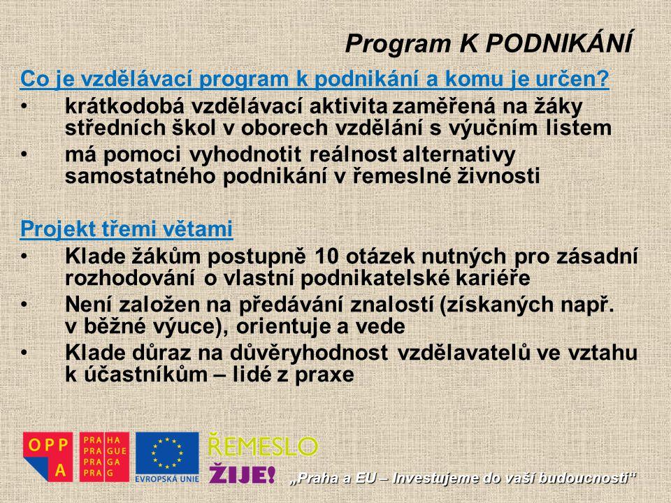 Program K PODNIKÁNÍ Co je vzdělávací program k podnikání a komu je určen