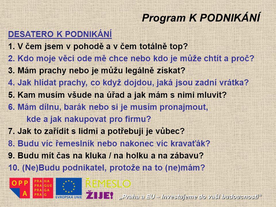 Program K PODNIKÁNÍ DESATERO K PODNIKÁNÍ