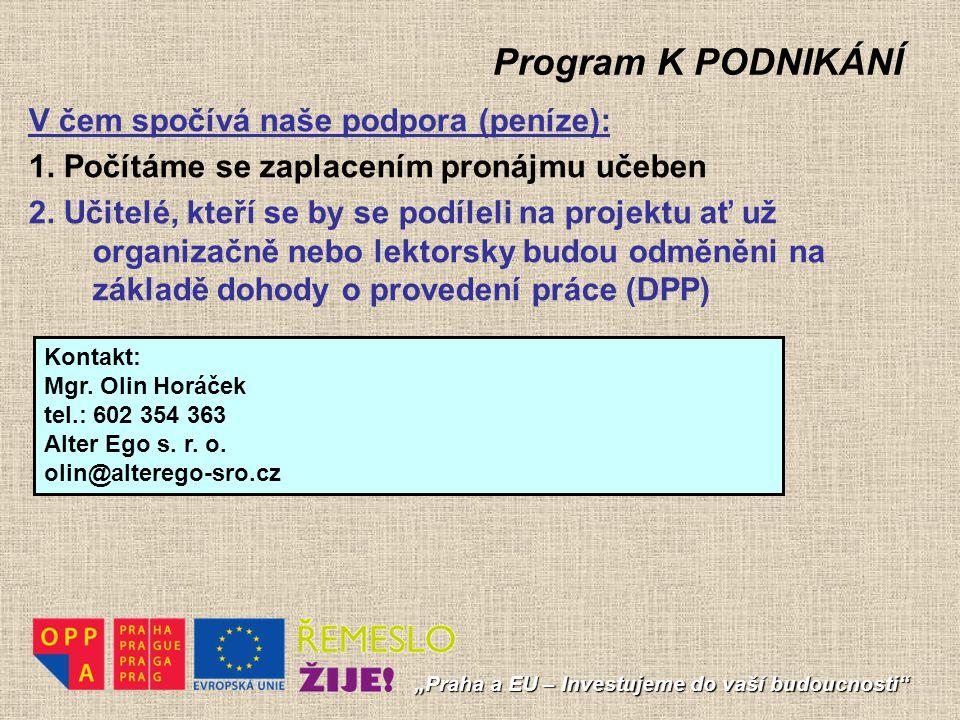 Program K PODNIKÁNÍ V čem spočívá naše podpora (peníze):