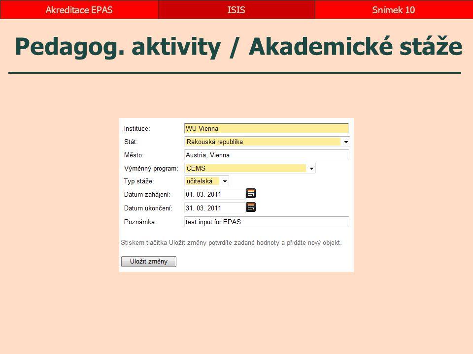 Pedagog. aktivity / Akademické stáže