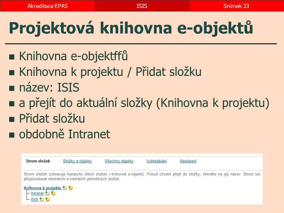 Projektová knihovna e-objektů