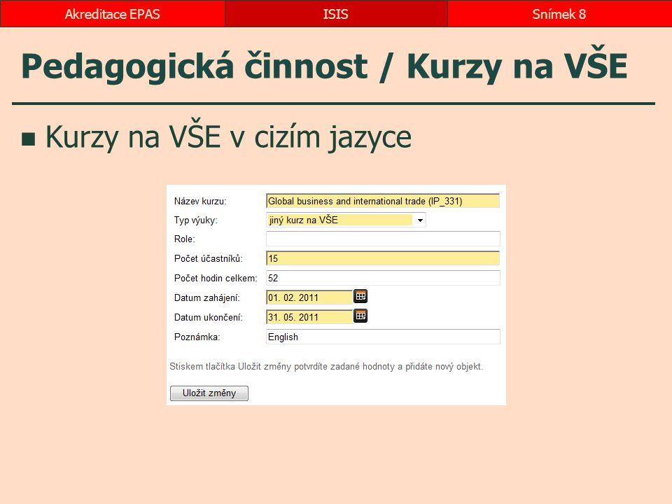 Pedagogická činnost / Kurzy na VŠE