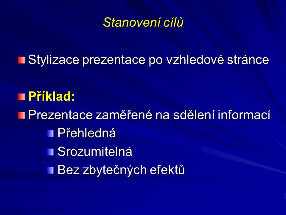 Stanovení cílů Stylizace prezentace po vzhledové stránce. Příklad: Prezentace zaměřené na sdělení informací.