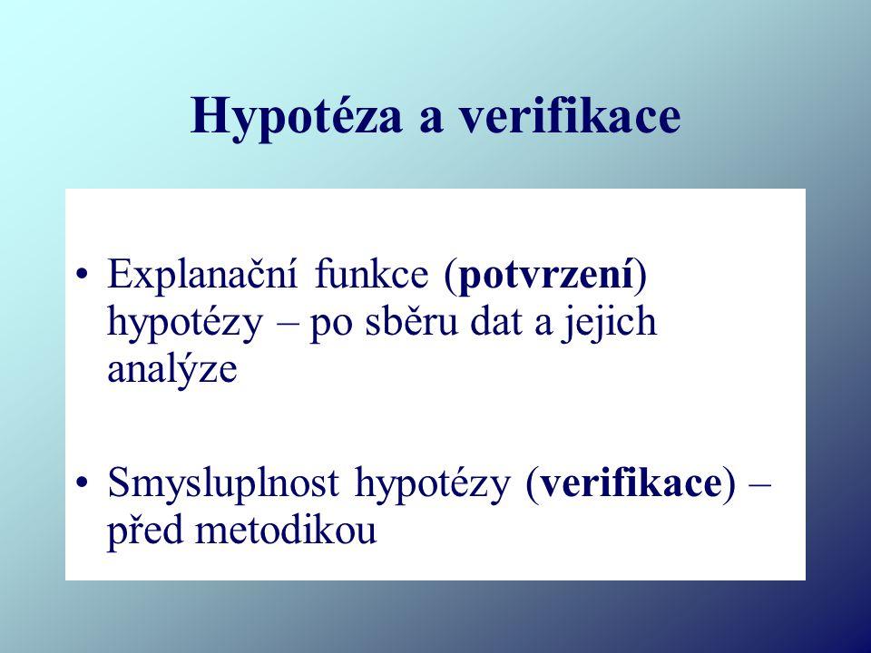 Hypotéza a verifikace Explanační funkce (potvrzení) hypotézy – po sběru dat a jejich analýze.